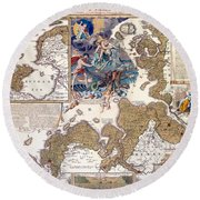 Map Of The Christmas Flood Of 1717 Round Beach Towel
