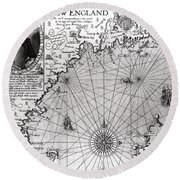 Map Of The Coast Of New England Round Beach Towel by Simon de Passe