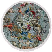Map Of The Constellations Of The Northern Hemisphere Round Beach Towel by Andreas Cellarius