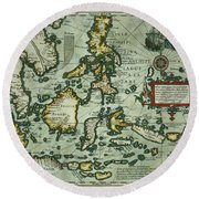 Map Of The East Indies Round Beach Towel
