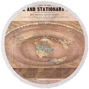 Map Of The Flat Earth Round Beach Towel