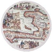 Map Of The Island Of Haiti Round Beach Towel