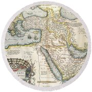 Map Of The Middle East From The Sixteenth Century Round Beach Towel