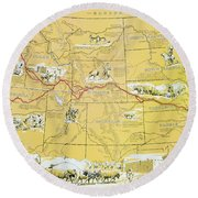 Map Of The Old Oregon Trail Round Beach Towel