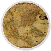 Map Of The United States 1849 Round Beach Towel