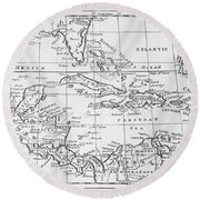 Map Of The West Indies Florida And South America Round Beach Towel by English School