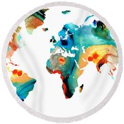 Map Of The World 11 -colorful Abstract Art Round Beach Towel by Sharon Cummings