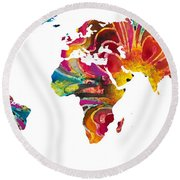 Map Of The World 2 -colorful Abstract Art Round Beach Towel by Sharon Cummings