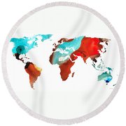 Map Of The World 4 -colorful Abstract Art Round Beach Towel