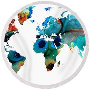 Map Of The World 6 -colorful Abstract Art Round Beach Towel