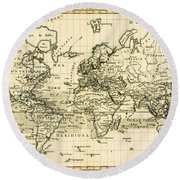 Map Of The World Using The Mercator Projection Round Beach Towel