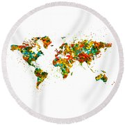 Map Of The World Watercolor Round Beach Towel