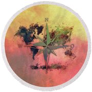 Map Of The World Wind Rose 1 Round Beach Towel