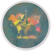 Map Of The World Wind Rose 2 Round Beach Towel