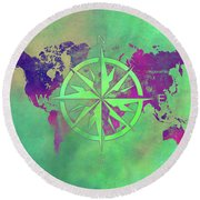 Map Of The World Wind Rose 3 Round Beach Towel