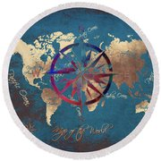 Map Of The World Wind Rose 4 Round Beach Towel