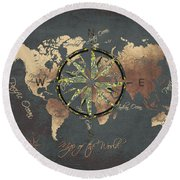 Map Of The World Wind Rose 5 Round Beach Towel