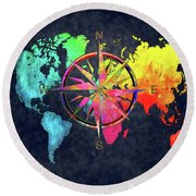 Map Of The World Wind Rose 6 Round Beach Towel