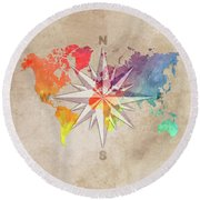 Map Of The World Wind Rose 7 Round Beach Towel