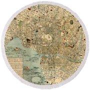 Map Of Tokyo 1854 Round Beach Towel
