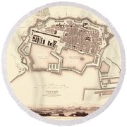 Map Of Toulon 1840 Round Beach Towel