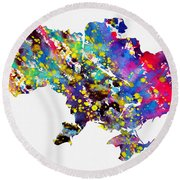Map Of Ukraine-colorful Round Beach Towel