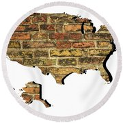 Map Of Usa And Wall. Round Beach Towel
