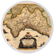 Map Of Valencia 1634 Round Beach Towel