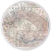 Map: Panama, 1907 Round Beach Towel