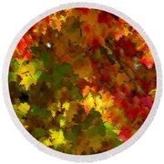 Maple Abstract Round Beach Towel
