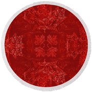 Maple Leaf Filigree Tiled Pattern Round Beach Towel
