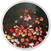 Maple Leaves On The Water  Round Beach Towel