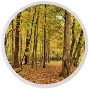 Maple Woods Trail Round Beach Towel