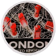 Maps From London Town Round Beach Towel