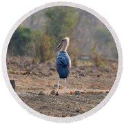 Marabou Stork Of Botswana Africa Round Beach Towel