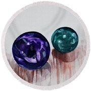 Marbles Of My Reflection Round Beach Towel