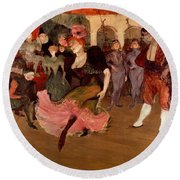 Marcelle Lender Dancing The Bolero In Chilperic Round Beach Towel by Henri de Toulouse Lautrec