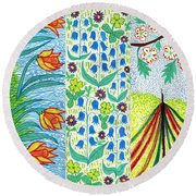 March April May Round Beach Towel
