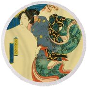 March Cherry Blossom Viewing 1844 Round Beach Towel