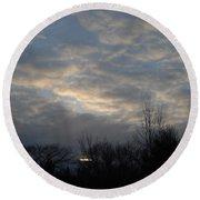 March Clouds In Dawn Sky Round Beach Towel