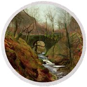 March Morning Round Beach Towel by John Atkinson Grimshaw