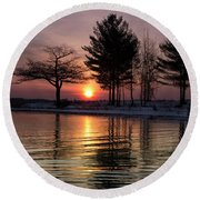 March Sunrise At Detroit Point Round Beach Towel