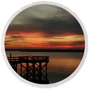 March Sunset Round Beach Towel