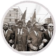 March Through Selma Round Beach Towel
