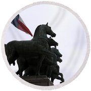 Marching Horses Round Beach Towel