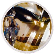 Marci Gras In Abstract Round Beach Towel