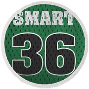 Marcus Smart Boston Celtics Number 36 Retro Vintage Jersey Closeup Graphic Design Round Beach Towel