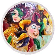 Mardi Gras Images Round Beach Towel