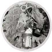 Mardi Gras Indian In Pirates Alley In Black And White Round Beach Towel