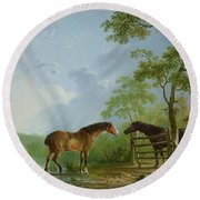 Mare And Stallion In A Landscape Round Beach Towel